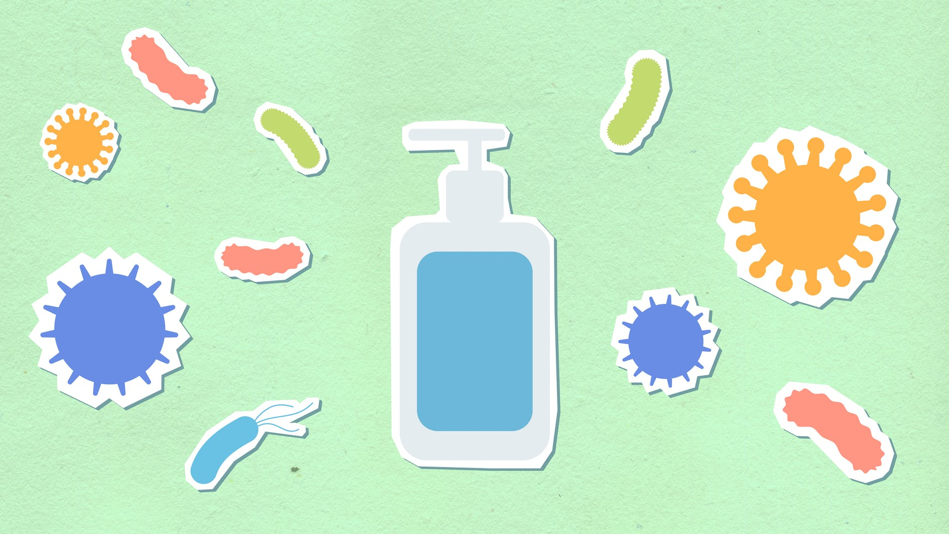 cutout paper composition of sanitizer between viruses and microbes
