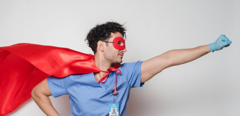 brave doctor in flying superhero cape with fist stretched