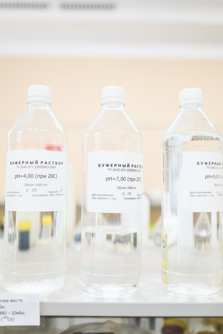 chemicals in bottles